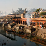 Arya Ghat (cremation ground) at the banks of Bagmati behind Pashupatinath Temple. Kathmandu, Nepal.